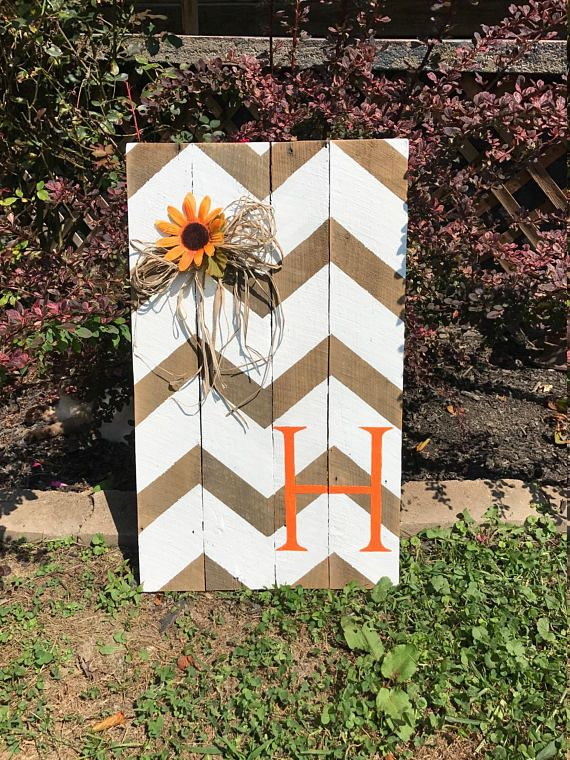 Personalized Chevron Monogram Letter Hand Painted Pallet Sign