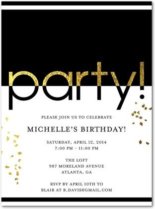 Glam Party Adult Birthday Party Invitations Umbrella Black