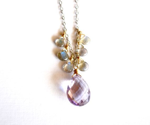 A plump pink amethyst (also known as rose de france) gemstone is surrounded by smooth, tiny labradorite gems. Each is wrapped in gold-filled wire, which contrasts with the textured rhodium-plated sterling silver chain. More labradorite connect the spring clasp.    Choose from 16, 17 or 18 length. Pink amethyst measures 0.6 long and 0.3 thick.    View more of my necklaces here:  https://www.etsy.com/shop/KahiliCreations?section_id=5311676    For more sparkly jewels from the Land of Aloha…