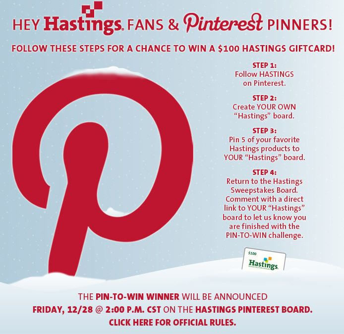Follow the instructions to enter to win a Hastings gift card ...