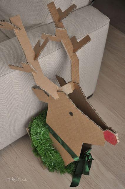 Diy un reno de carton navidad pinterest cart n for Manualidades renos navidenos
