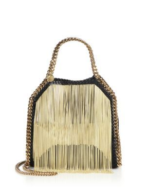 96e35161519f STELLA MCCARTNEY Falabella Mini Baby Bella Chain-Fringed Faux Leather Tote.   stellamccartney  bags  shoulder bags  hand bags  leather  tote