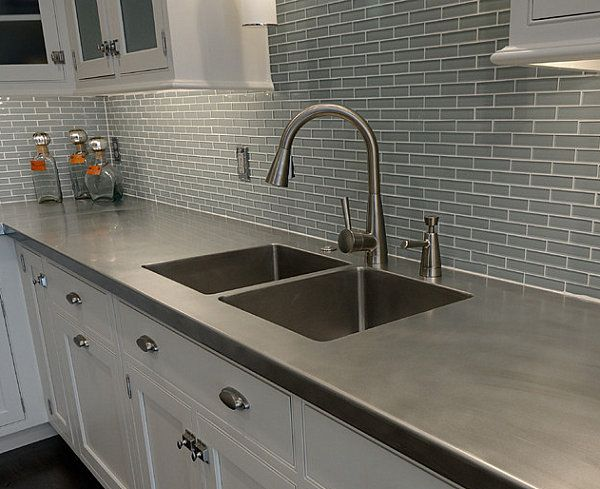 Reasonable Countertop Options : gray laminate countertop ... And Affordable Countertop Metal Faucet ...
