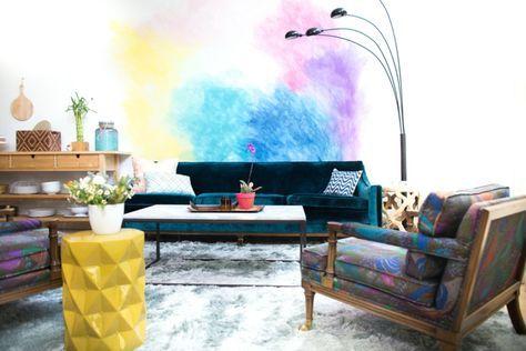 Aquarell Wandfarbe Wohnzimmer Wandgestaltung Modern Peppig