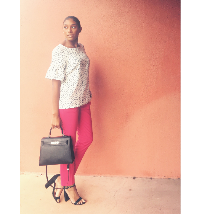 This week was all about maintaining a professional look in the office while still having elements of Pizazz! Whether that meant a floral skirt from Banana Republic or the hot pink ruffed dress also…