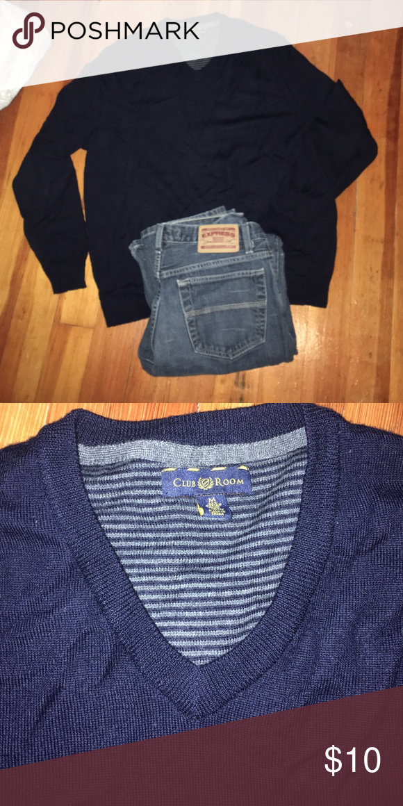 Men's club room -navy v-neck sweater-perfect! Men's club room -navy v-neck sweater-perfect! Club Room Sweaters V-Necks