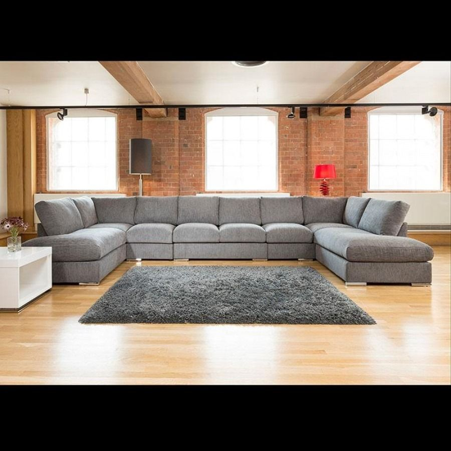 Modern Extra Wide Sofa Set Settee Corner Group U Shape Grey 4 7x2