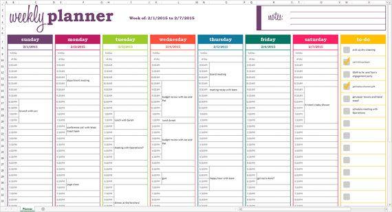 Weekly Planner Printable Excel Planner Template Weekly Weekly Calendar Printable Weekly Calendar Template Free Weekly Planner Templates