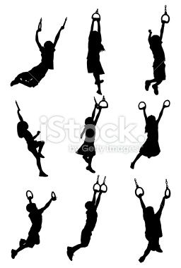 silhouette of children hanging on gymnastic in 2018 craft fair