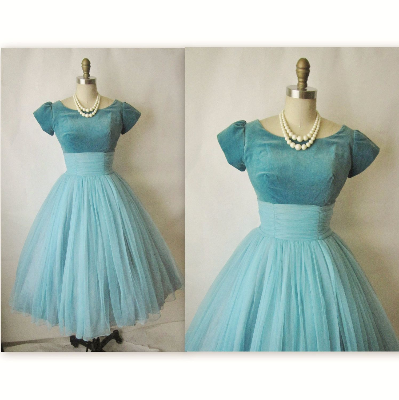50\'s Chiffon Dress // Vintage 1950\'s Robin\'s Egg Blue Chiffon Velvet ...