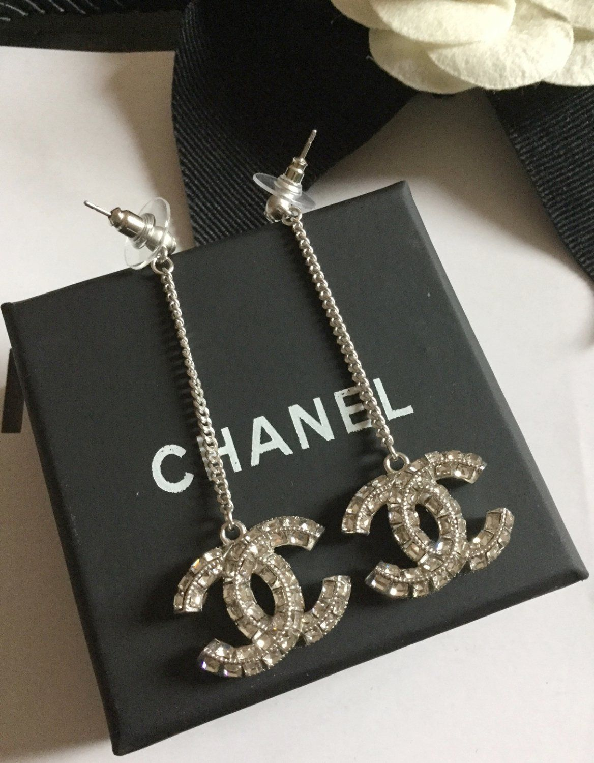 d6c675c86 CHANEL+Silver+Crystal+Baguette+Dangle+Chain+Link+Earrings+CC+HALLMARK