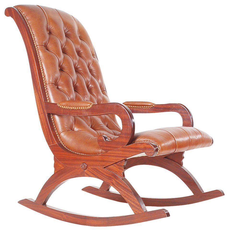 Leather Rocking Chair Vintage Leather Chesterfield Style Mahogany Rocking Chair In 2019