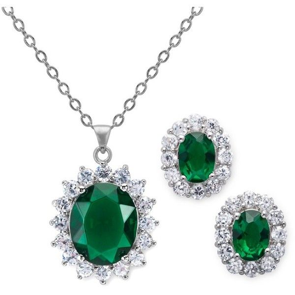 11.5 Carat Simulated Emerald Oval Shaped Earring and Pendant Set ($45) ❤ liked on Polyvore
