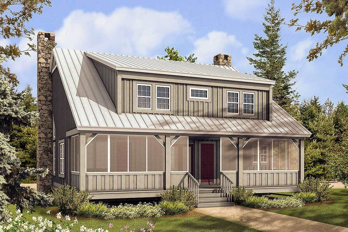 Plan 58555sv Big Rear And Front Porches Porch House Plans Cottage House Plans House With Porch