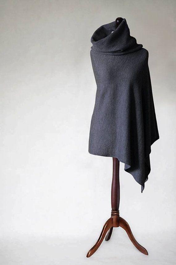 Merino poncho knit poncho wool poncho gray by KnitwearFactory