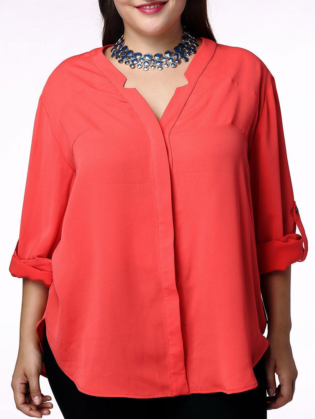 430abb83a0d Elegant V-Neck Solid Color 3 4 Sleeve Plus Size Blouse For Women ...