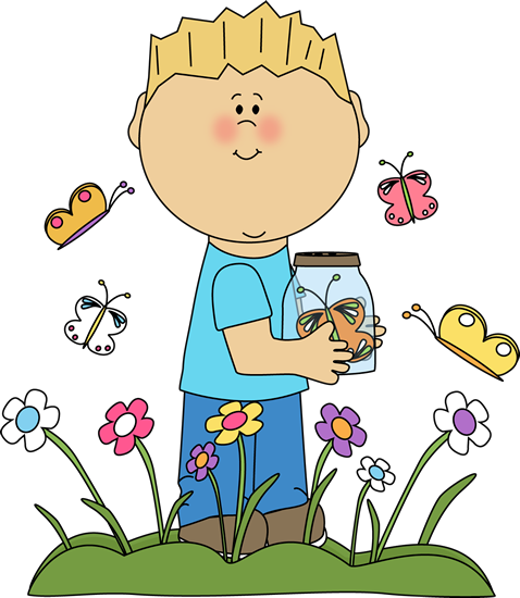 Spring Clip Art | Boy in a Butterfly Patch Clip Art Image - boy ...