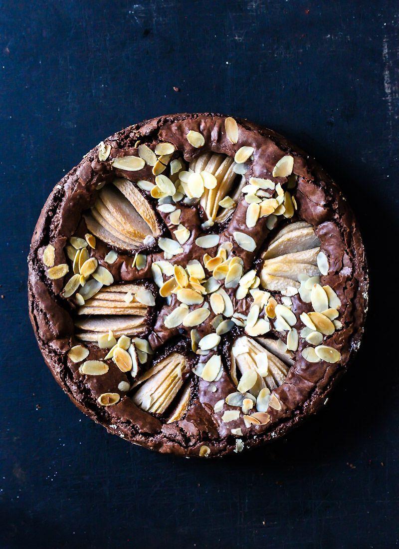 Birnen Brownie Kuchen Rezept - pear brownies -