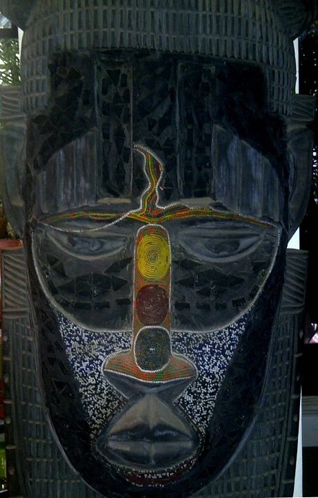 African mask (brought from Nigeria) displayed in friend's house. Courtesy Sejal+Nehal. [personal photo]