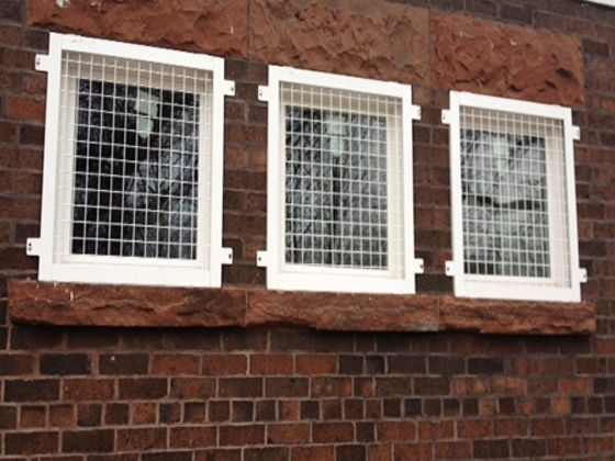 Wire Mesh Window Guards 2 X 2 Welded Wire Mesh Construction With Steel Frame Painted Http Www Glassessential Windows Window Security Bars Window Bars