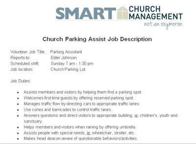 Church Parking Assist Volunteer Job Description Church Managment