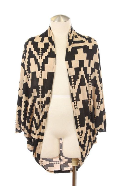 Black & Tan Aztec Print Kimono #cardigan #Tribal #sweater ...