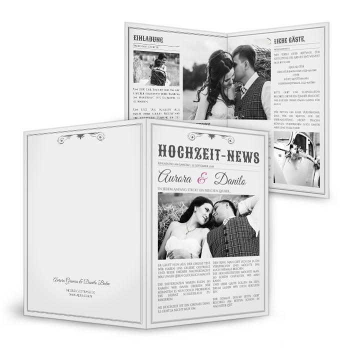 Besondere Einladungskarte zur Hochzeit als Zeitung - Aurora und Danilo ❤ selber gestalten ❤ kostenlose Musterkarte ❤ schnelle Lieferung ❤ besondere Papiere ❤❤