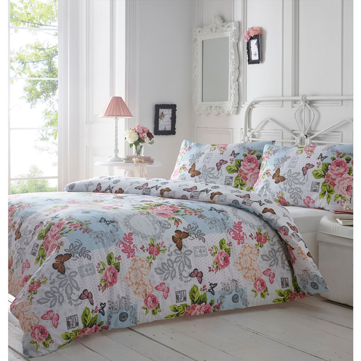 Part of our vintage-inspired collection, this poly-cotton bedding set features a multi-coloured print full of whimsical charm. With floral, butterfly and heart motifs on a pink polka-dot base, it is perfect for brightening up bedrooms.