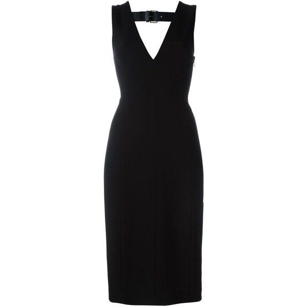 Alexander Wang V-Neck Dress (€405) ❤ liked on Polyvore featuring dresses, black, sleeveless dress, v-neck dresses, alexander wang dresses, no sleeve dress and v neck dress