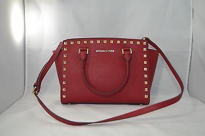 cdae630d06040d Michael-Kors-Selma-Stud-Cherry-MD-TZ-Satchel-New-Auth-Handbag-Leather-Bag -328