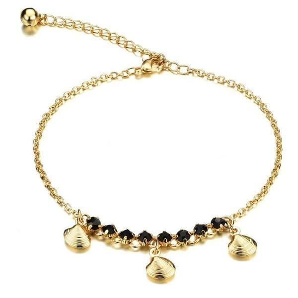 TBDress - TBDress 18 K Gold Plated Black Rhinestone Anklet - AdoreWe.com