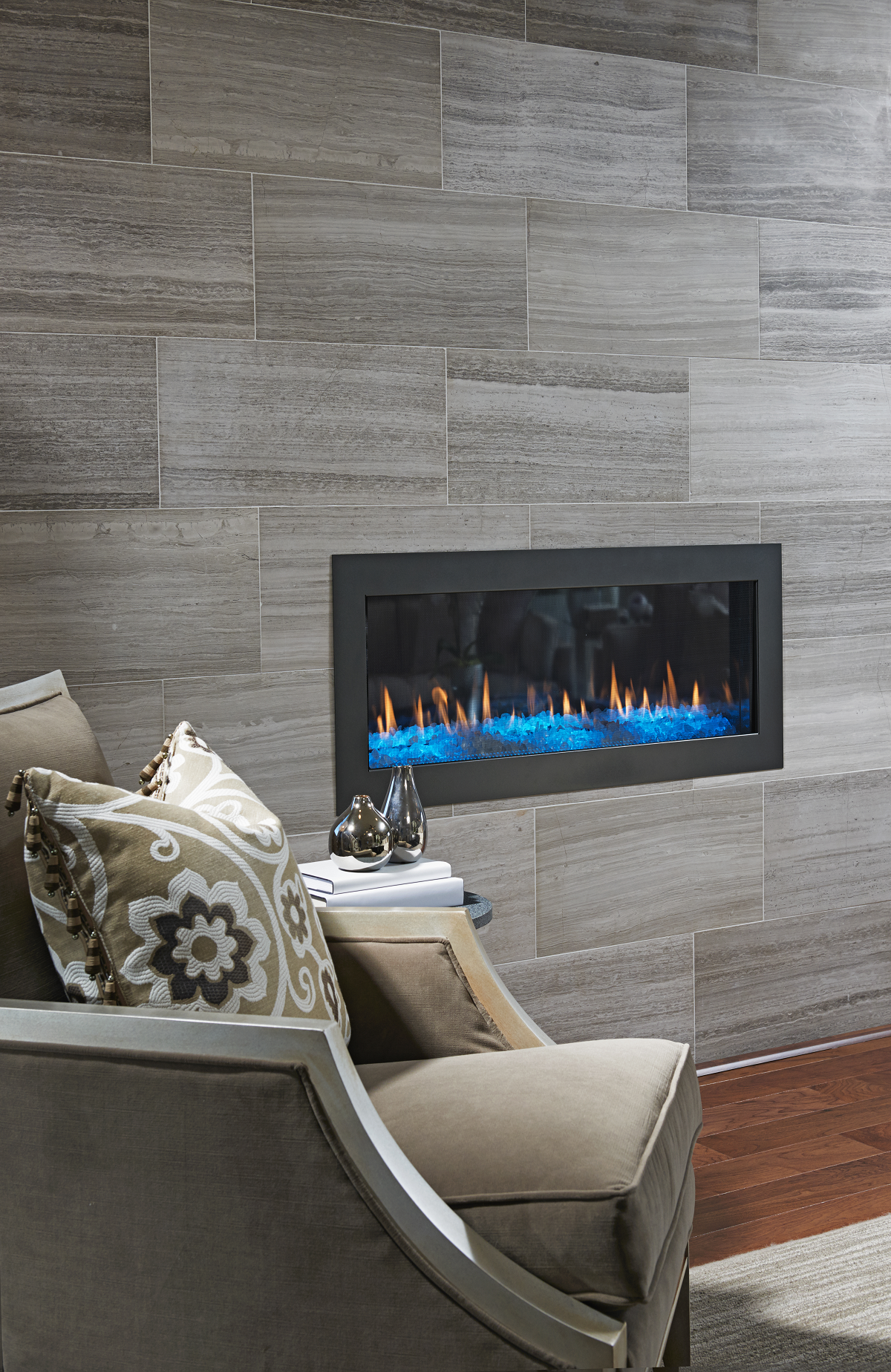 Love The Floor To Ceiling Tile Surround On This Fireplace In The