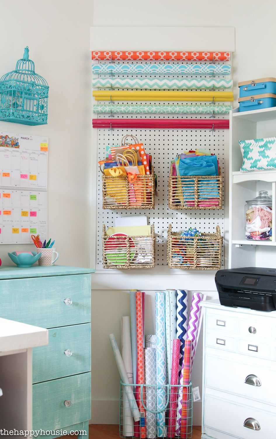 Functional decorations this creative workspace is a beautiful balance of style and storage we cant get enough of this colorful craft room