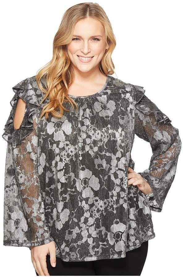 db5d1e6de0 MICHAEL Michael Kors - Plus Size Ruffle Cold Shoulder Long Sleeve Top  Women s Clothing  plus