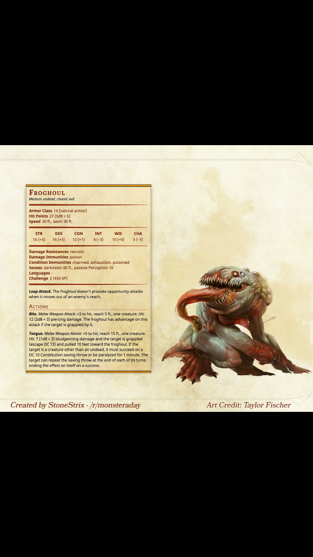 Horror frog ghoul undead stats   Home brew DnD monsters