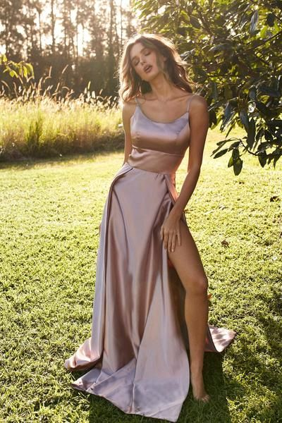 A-Line Sexy Slit Backless Cheap Straps Prom Dress, FC1977 #promdresses
