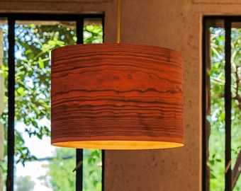 Pendant lamp chandelier ceiling lamp pendant by sponndesign a minimalist drum shade that showcases the natural beauty of each individual unique wood material wood veneer maple cherry or walnut plywood mozeypictures Images