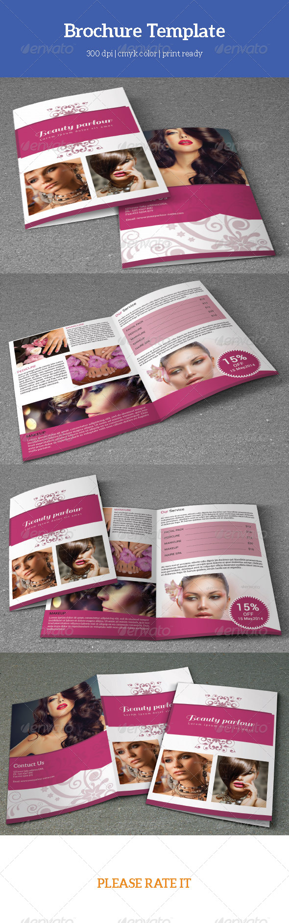 Bifold Beauty Salon BrochureV  Psd Templates Brochures And