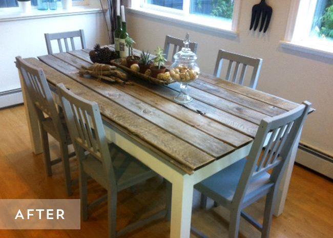 diy relooker une table avec des lames de parquet diy. Black Bedroom Furniture Sets. Home Design Ideas