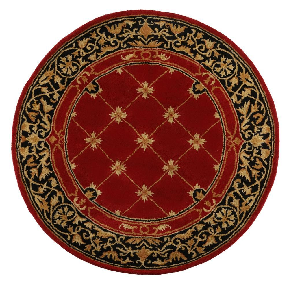 Churchill Red with Design 5 ft. 5 in. x 5 ft. 5 in. Round Area Rug