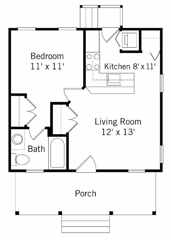 Modern Small House Plans And Design Ideas Floor Plan Open Concept Kitchen Living Room 1 Bedroom House Plans Guest House Plans Small House Floor Plans