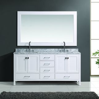 Design Element London Inch White Finish Double Sink Vanity Set - 66 inch bathroom vanity for bathroom decor ideas