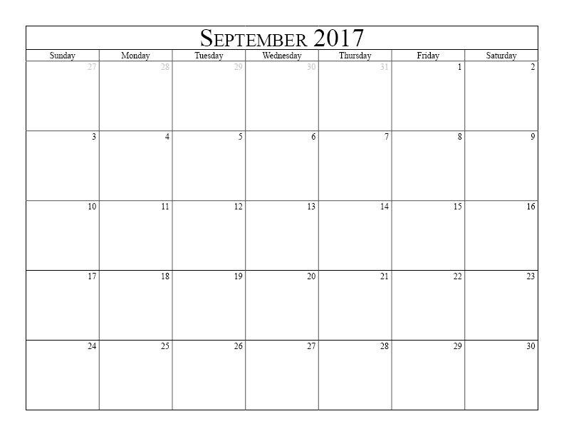 2017 September Calendar Http Socialebuzz Com September 2017
