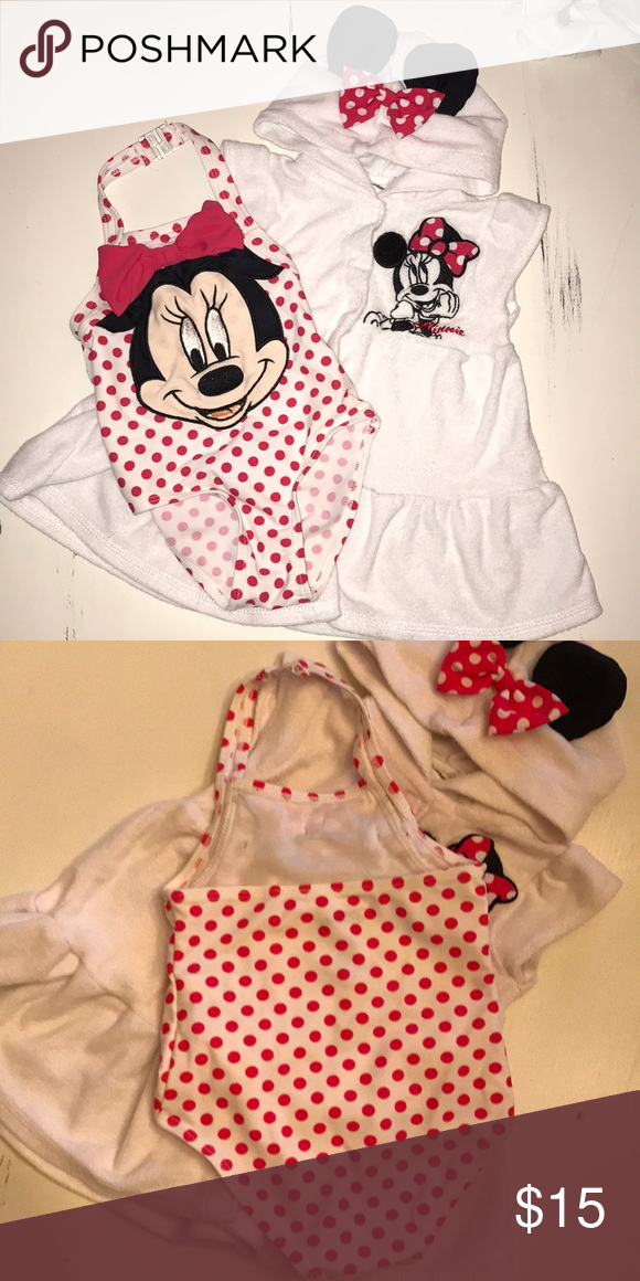 6232ed4629002 Minnie Mouse Bathing Suit and Coverup Matching bathing suit and coverup. Bathing  suit is a halter. Terry cloth cover up Disney Swim One Piece