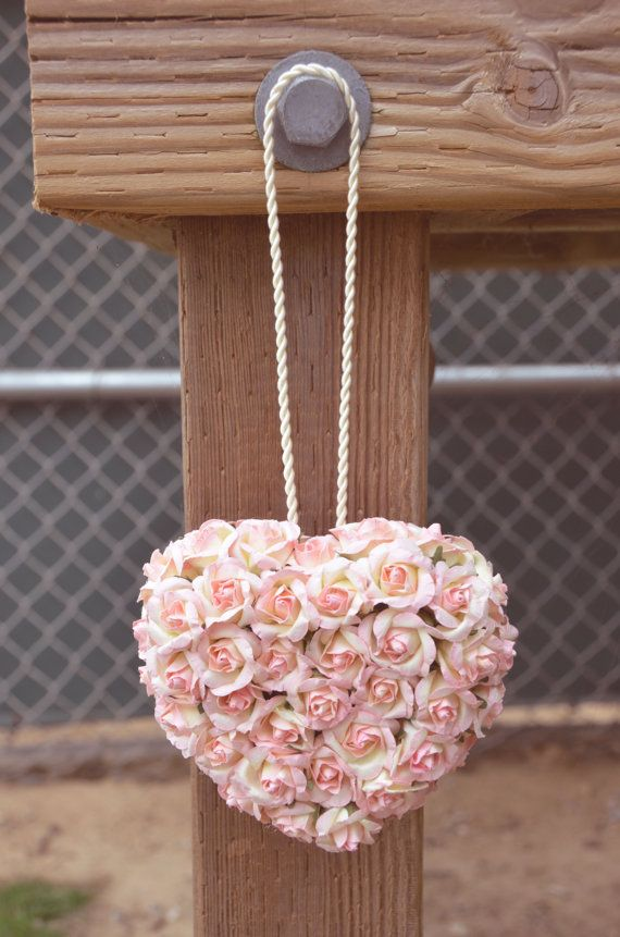 Pink paper flower heart kissingpomander ball flower girl items similar to pink paper flower heart kissingpomander ball flower girl alternative on etsy mightylinksfo Choice Image