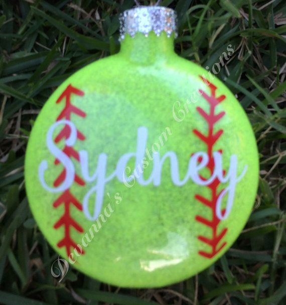 Personalized Softball Christmas Ornament - This 3 glass ...