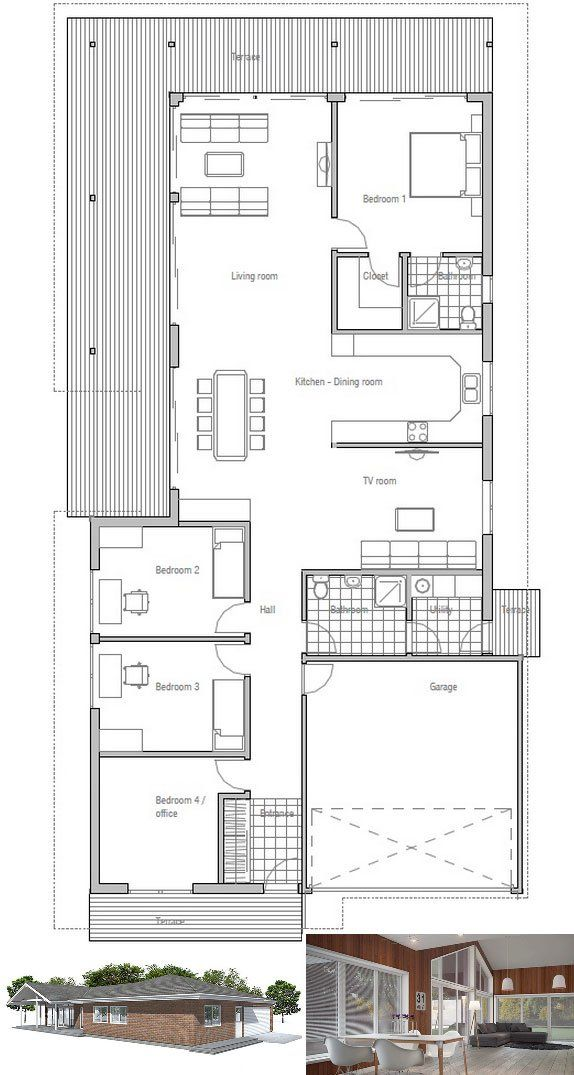 modern house plan with four bedrooms floor plan from 11470 | 667d163036784dbccf1e4c7d11470dc5