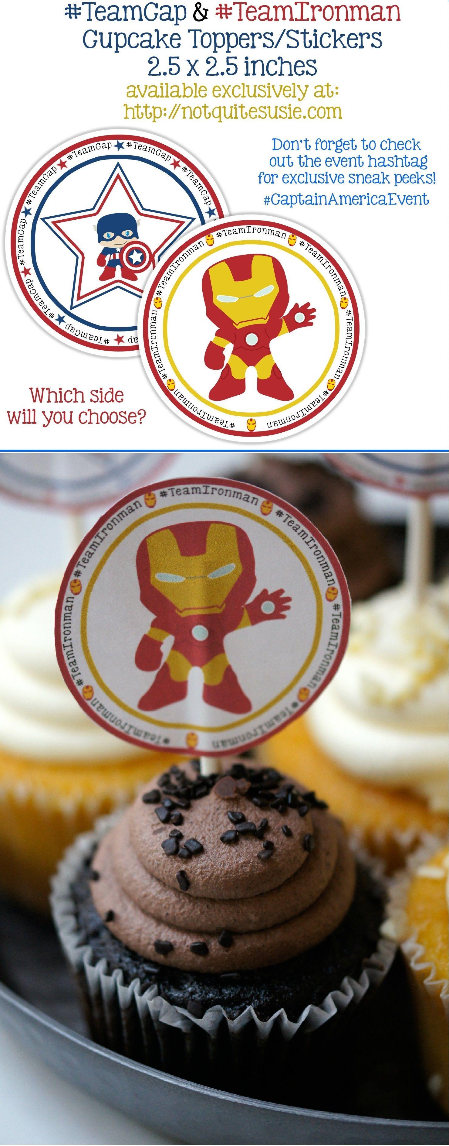 Free Printable Captain America Civil War Cupcake Toppers