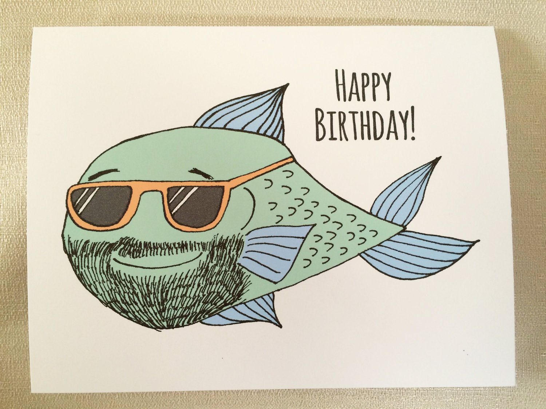 Fish Birthday Card fisherman birthday birthday card man bearded – Male Birthday Greetings