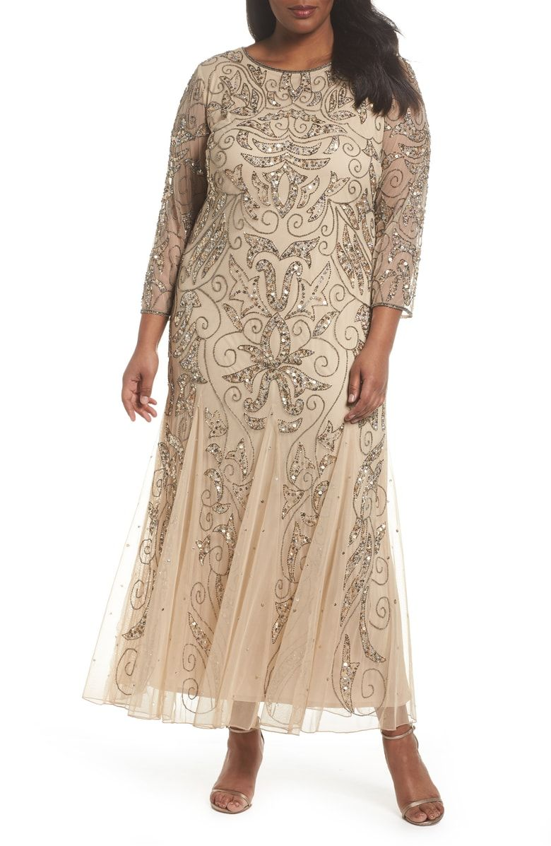 0dc8682a70c1 Free shipping and returns on Pisarro Nights Embellished Three Quarter  Sleeve Gown (Plus Size) at Nordstrom.com. Flourishes of glittering beads  and sequins ...